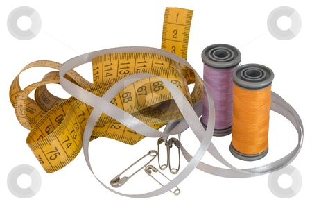 Sewing accesories stock photo, Sartorial metre, two spools, silk tape and five stickpins on white background by Oksana Duboshina