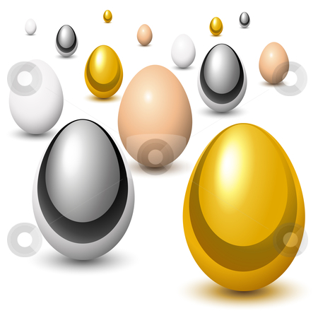 Eggs reproduction stock vector clipart, Golden, chrome and natural eggs in perspective by Laurent Renault