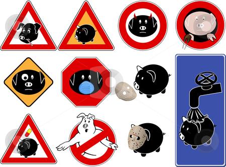 Swine flu signs stock vector clipart, Road signs with pig, swine flu symbols by Ivan Gajic