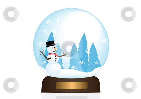 Snow Globe Illstration stock vector clipart, Snowman in a snow globe illustration by John Teeter