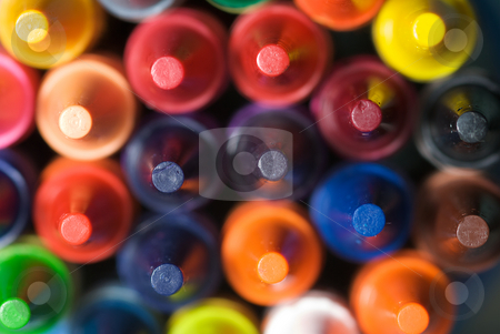 Stacked Crayons stock photo, Closeup of stacked crayons with point in sharp focus. by Joseph Jenkins
