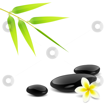 Zen theme stock vector clipart, Zen theme with bamboo and black stones by Laurent Renault