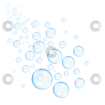 Bubbles stock vector clipart, Blue bubbles projection background, vector illustration by Laurent Renault
