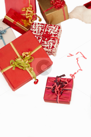 Christmas presents - On white background stock photo, Christmas presents - On white background with copyspace by Phillip Dyhr Hobbs