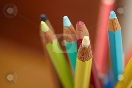 Students accessories - Colouring pencils with space to copy stock photo, Students accessories - Colouring pencils with copyspace by Phillip Dyhr Hobbs