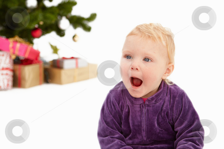Surprise - Cute child at christmas time stock photo, Surprise - Cute child at christmas time on white by Phillip Dyhr Hobbs