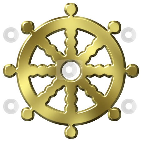 3D Godlen Buddhism Symbol Wheel of Life stock photo, 3d golden buddhism symbol wheel of life isolated in white by Georgios Kollidas