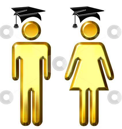 Graduates stock photo, 3d golden graduates isolated in white by Georgios Kollidas