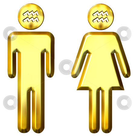 3d golden Aquarius man and woman  stock photo, 3d golden Aquarius man and woman isolated in white by Georgios Kollidas