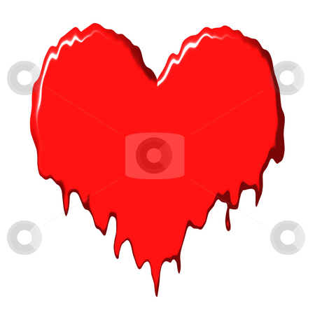 Melting heart stock photo, Melting heart isolated in white by Georgios Kollidas