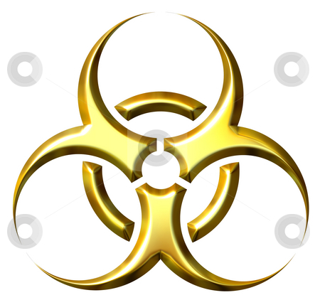 3D Golden Biohazard Symbol stock photo, 3d golden biohazard symbol isolated in white by Georgios Kollidas