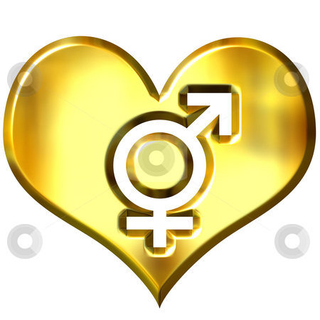 3d golden heart with combined gender signs stock photo, 3d golden heart with combined gender signs isolated in white by Georgios Kollidas