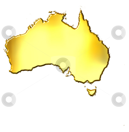 Australia 3d Golden Map stock photo, Australia 3d golden map isolated in white by Georgios Kollidas