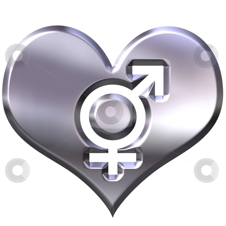3d silver heart with combined gender signs stock photo, 3d silver heart with combined gender signs isolated in white by Georgios Kollidas