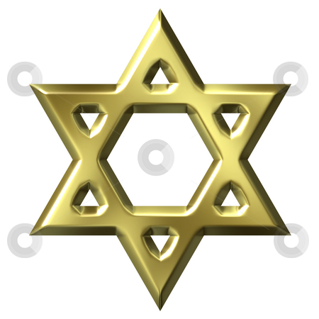 Golden Star of David stock photo, 3d golden star of david isolated in white by Georgios Kollidas