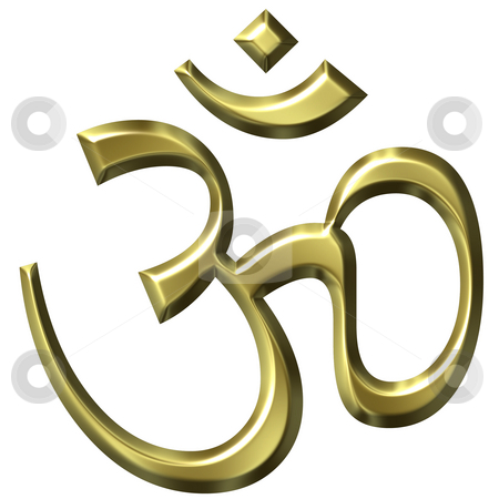 3D Golden Hinduism Symbol stock photo, 3d golden hinduism symbol isolated in white by Georgios Kollidas