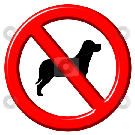 No dogs 3d sign stock photo, No dogs 3d sign isolated in white by Georgios Kollidas