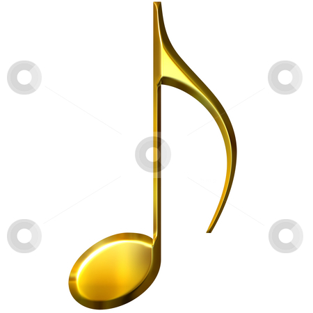 3D Golden Eighth Note stock photo, 3d golden eighth note isolated in white by Georgios Kollidas