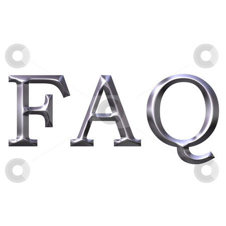 Silver Frequently Asked Questions stock photo, 3d silver frequently asked questions isolated in white by Georgios Kollidas