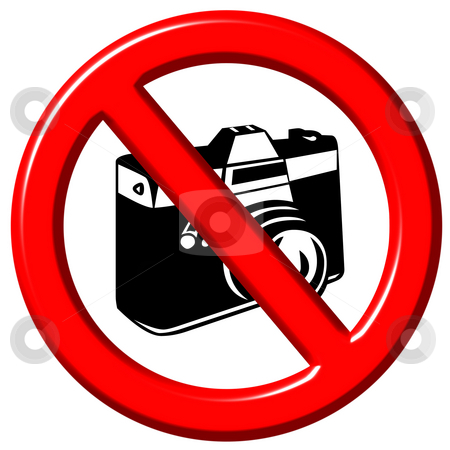 No photographs 3d sign stock photo, No photographs 3d sign isolated in white by Georgios Kollidas