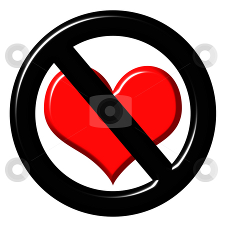 3d anti love sign stock photo, 3d anti love sign isolated in white by Georgios Kollidas