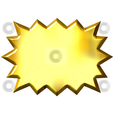 3D Golden Burst stock photo, 3d golden burst isolated in white by Georgios Kollidas