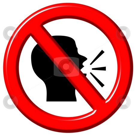 Do Not Speak 3d sign stock photo, Do not speak 3d sign isolated in white by Georgios Kollidas
