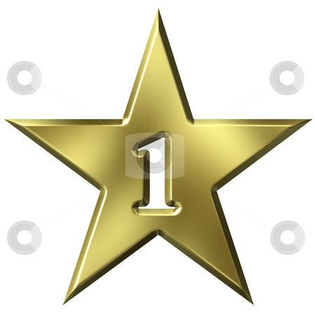 Number 1 Star stock photo, Number 1 star isolated in white by Georgios Kollidas