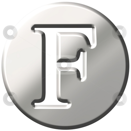 3D Steel Letter F stock photo, 3d steel letter F isolated in white by Georgios Kollidas