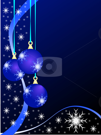 Blue Christmas Baubles Background stock vector clipart, An abstract Christmas vector illustration with  sky blue baubles on a darker backdrop with white snowflakes and room for text by Mike Price