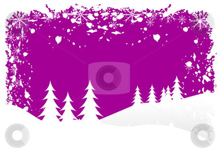 Grunge Christmas Vector Background stock vector clipart, A grunge winter vector background illustration with white trees on snowy hills with a mauve sky with room for text by Mike Price