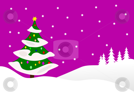 Christmas snowy scene stock vector clipart, A winter vector background illustration with a large snow covered christmas tree on snowy hills with a mauve starry evening sky with room for text by Mike Price