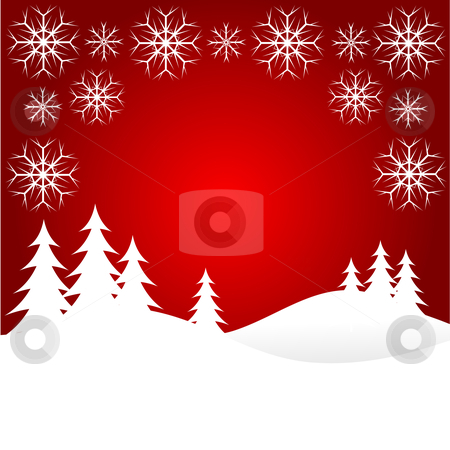 Red Christmas Snow Scene stock vector clipart, A winter background illustration with large snow covered christmas tree on snowy hills with large snowflakes with room for text by Mike Price