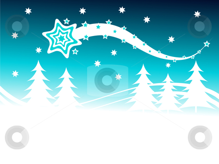 A winter vector background illustration stock vector clipart, A winter vector background illustration with a large snow covered christmas trees on snowy hills with a cyan starry evening sky with room for text by Mike Price