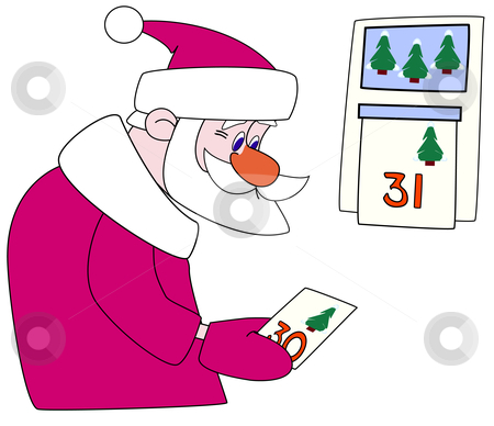 Santa-klaus tears off a calendar leaf stock vector clipart, Santa-klaus tears off a leaf of a calendar with figure thirty. Vector drawing by Andrey Efremov