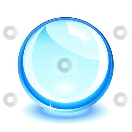 Blue crystal ball stock vector clipart, Blue crystal ball over white by Laurent Renault