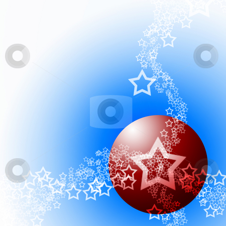 Elegant Cold Festive Abstract Theme stock photo, Festive Abstract Elegant Ornament Cold Theme with Red Bauble Ball and White Lacy Stars by Skovoroda
