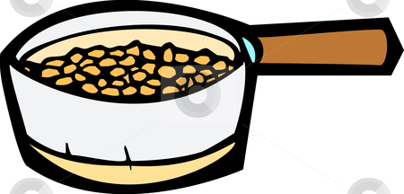 Cooking Pot stock vector clipart, Cooking pot full of beans roasting inside. by Jeffrey Thompson