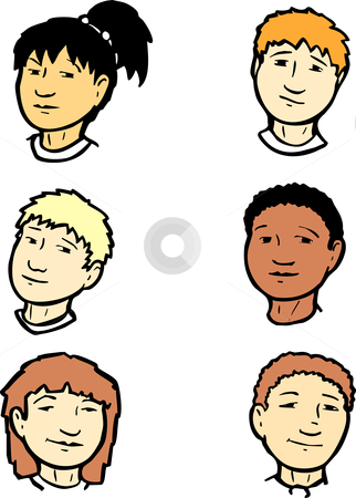 Group of Heads #1 stock vector clipart, Group of six children s heads of differing ethnic groups. by Jeffrey Thompson