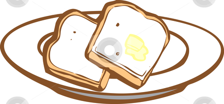 Toast stock vector clipart, Two slices of toast with some butter. by Jeffrey Thompson
