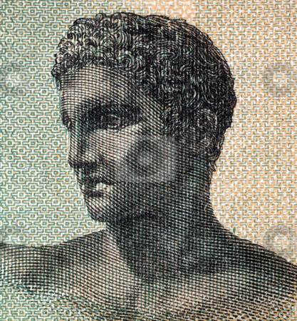 Ancient Greek Teenager stock photo, Ancient Greek Teenager on one million drachmai 1944 banknote from Greece by Georgios Kollidas