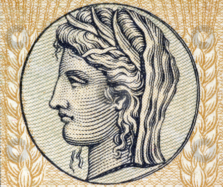 Demeter, Greek Goddess of Grain and Fertility stock photo, Demeter the Goddess of Grain and Fertility on on 10 Drachmai 1940 banknote form Greece by Georgios Kollidas
