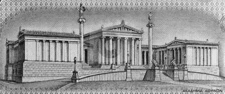 Academy of Athens stock photo, Academy of Athens on 100 Drachmai 1967 banknote from Greece. It is the national academy of Greece, and the highest research establishment in the country. The Academy's main building is one of the major landmarks of Athens. by Georgios Kollidas