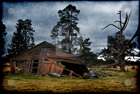 Old farm building stock photo, Grungy old building on his farm is falling down by Phil Morley