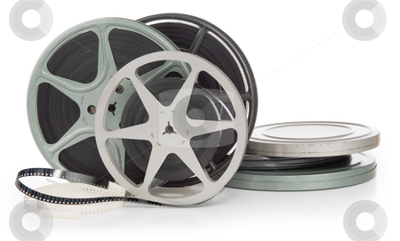 Film reels stock photo, Film reels and canisters isolated on white background by James Steidl
