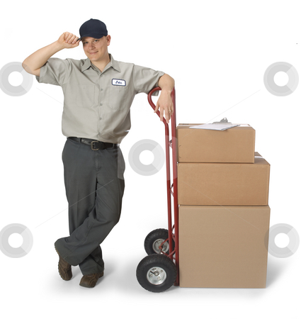 Delivery Man stock photo, Delivery man with hand truck, isolated on a white background by James Steidl