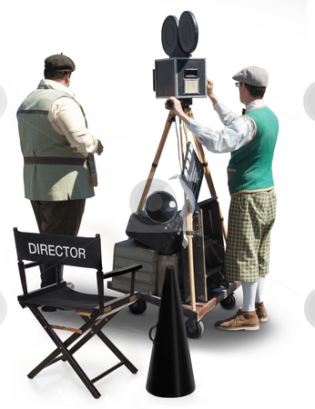 Film Crew Standing Behind a Movie Camera stock photo, Vintage film crew standing behind a movie camera. Isolated on White by James Steidl