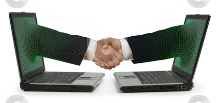 E-commerce stock photo, Two facing laptops with an arm emerging from each screen and shaking hands on a white background by James Steidl
