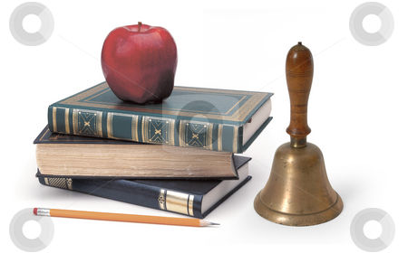 Back to school stock photo, Books, pencil & apple on white by James Steidl