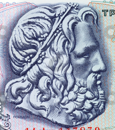 Poseidon, Greek God of the Sea stock photo, Poseidon the God of the sea on 50 Drachmes 1978 banknote from Greece by Georgios Kollidas